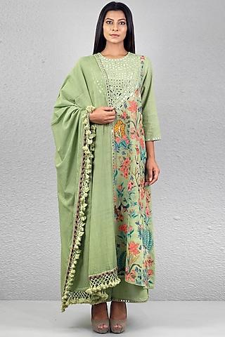 Mint Green Embroidered Kurta Set by Purvi Doshi