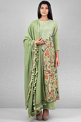 Mint Green Floral Embroidered Kurta Set by Purvi Doshi