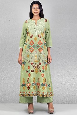 Mint Green Aari Embroidered Kurta Set by Purvi Doshi