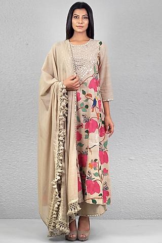 Beige Aari Embroidered Kurta Set by Purvi Doshi