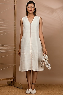 Off White Handwoven A-Line Dress by Purvi Doshi