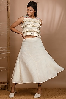 Off White Handwoven Top by Purvi Doshi