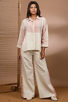 Off White Handwoven Striped Shirt by Purvi Doshi