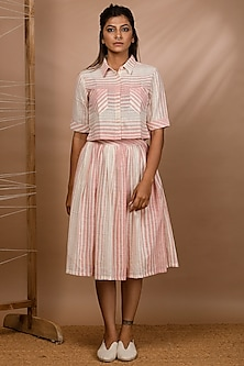 Off White Striped Shirt With Pockets by Purvi Doshi