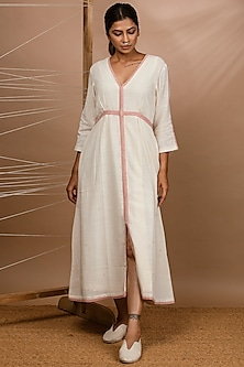 Off White Handwoven Pleated Dress by Purvi Doshi