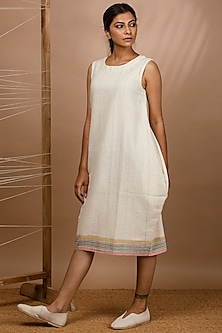 Off White Handwoven Cocoon Dress by Purvi Doshi