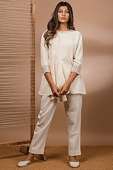 Off White Pleated Kimono Top by Purvi Doshi