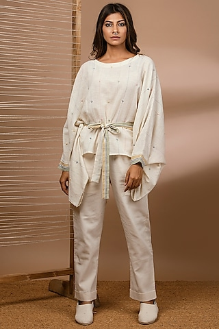 Off White Embroidered Kaftan Top With Belt by Purvi Doshi