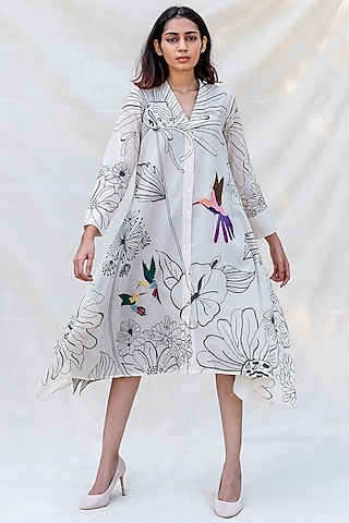 Off White Embroidered Handkerchief Dress by Purvi Doshi