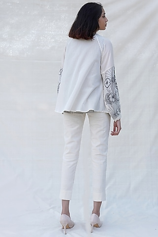 Off White Embroidered Top by Purvi Doshi