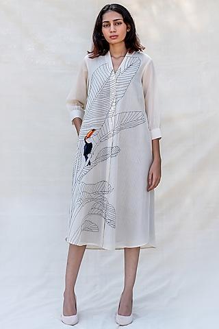 Off White Embroidered Midi Shirt Dress  by Purvi Doshi