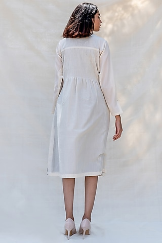 Off White Embroidered Pintucked Dress  by Purvi Doshi