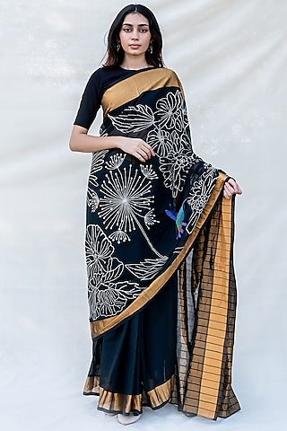 Black Hand Embellished Saree by Purvi Doshi