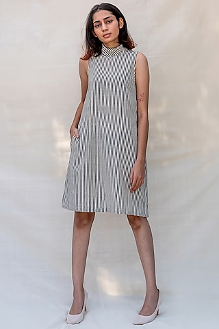Grey Striped Slip Dress by Purvi Doshi