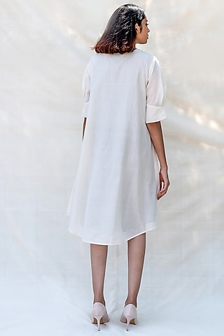 Off White Embroidered Mini Dress by Purvi Doshi
