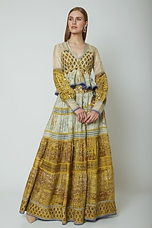 Multi Colored Embroidered & Printed Top With Pants by Poonam Dubey Designs