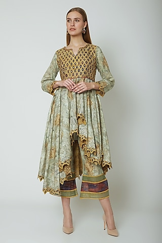 Multi Colored Embroidered & Printed Kurti With Pleated Pants by Poonam Dubey Designs