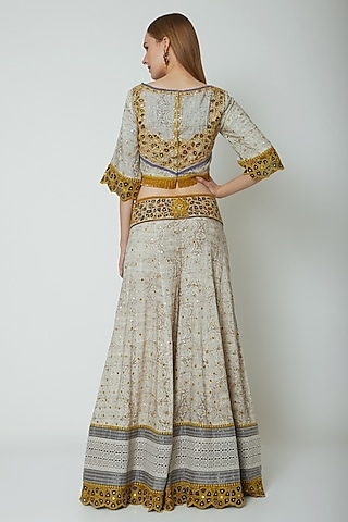 Multi Colored Embroidered & Printed Crop Top With Pants by Poonam Dubey Designs