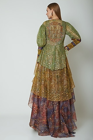 Multi Colored Embroidered & Printed Jacket Set by Poonam Dubey Designs