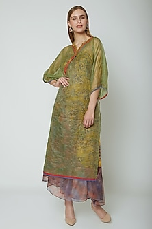 Mustard Yellow Embroidered & Printed Organza Jacket With Long Dress. by Poonam Dubey Designs