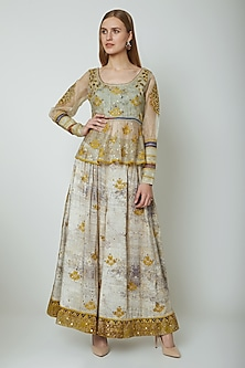 Multi Colored Embroidered Printed Top With Sharara Pants by Poonam Dubey Designs