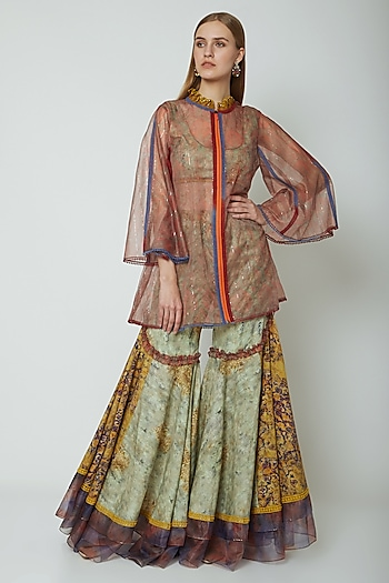Multi Colored Printed Embroidered Top With Pants & Jacket by Poonam Dubey Designs
