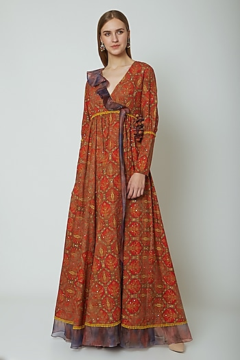 Red Embroidered & Printed Angrakha Style Dress by Poonam Dubey Designs
