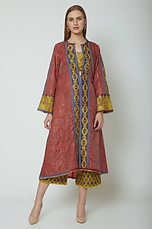 Red Embroidered Printed Jacket With Pants & Inner by Poonam Dubey Designs