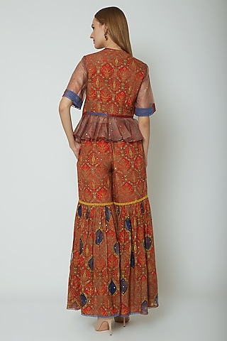 Red Embroidered & Printed Peplum Top With Pants by Poonam Dubey Designs