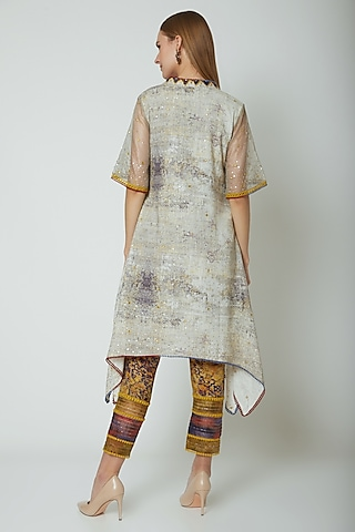 Multi Colored Embroidered & Printed Kurta Set by Poonam Dubey Designs