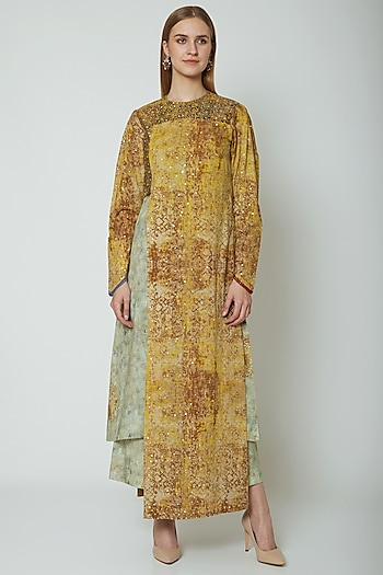 Mustard Embroidered & Printed Kurta With Pants by Poonam Dubey Designs