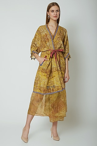 Mustard Embroidered & Printed Angrakha Dress by Poonam Dubey Designs