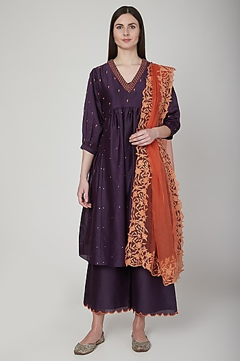 Purple & Orange Embroidered Kurta Set by Poonam Dubey Designs