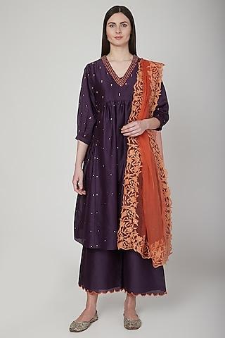 Purple & Orange Embroidered Kurta Set by Poonam Dubey Designs