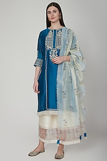 Cobalt Blue Embroidered Kurta Set by Poonam Dubey Designs