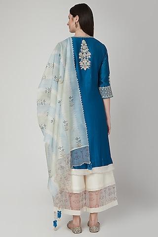Cobalt Blue Embroidered Kurta Set by Poonam Dubey Designs