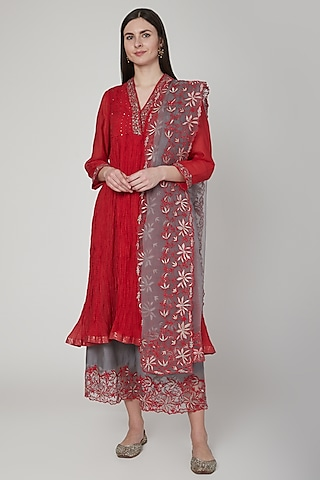 Red & Grey Embroidered Kurta Set by Poonam Dubey Designs