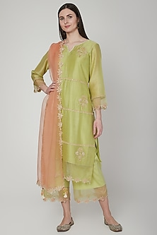 Lime Green & Orange Embroidered Kurta Set by Poonam Dubey Designs
