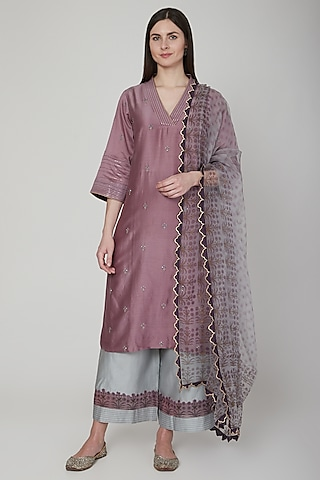Purple & Grey Embroidered Kurta Set by Poonam Dubey Designs