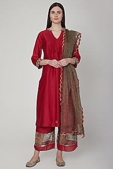 Maroon & Grey Embroidered Kurta Set by Poonam Dubey Designs
