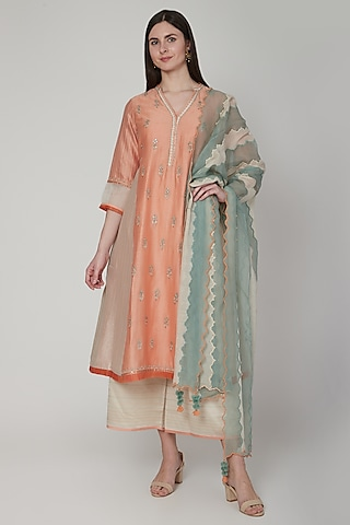 Orange & Beige Zardosi Embroidered Kurta Set by Poonam Dubey Designs