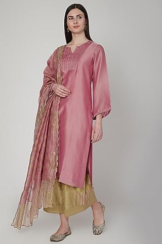 Blush Pink & Mustard Embroidered Kurta Set by Poonam Dubey Designs