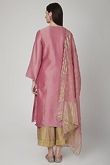 Blush Pink & Mustard Embroidered Kurta Set by Poonam Dubey Designs
