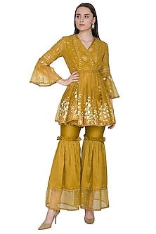 Mustard Yellow Embroidered & Hand Painted Kurta With Sharara Pants by Poonam Dubey Designs