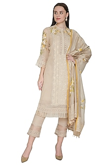 Beige Embroidered & Hand Painted Kurta Set by Poonam Dubey Designs