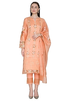 Peach Embroidered & Hand Painted Kurta Set by Poonam Dubey Designs