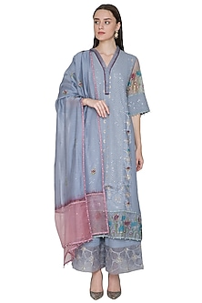 Cool Grey Embroidered & Hand Painted Kurta Set by Poonam Dubey Designs
