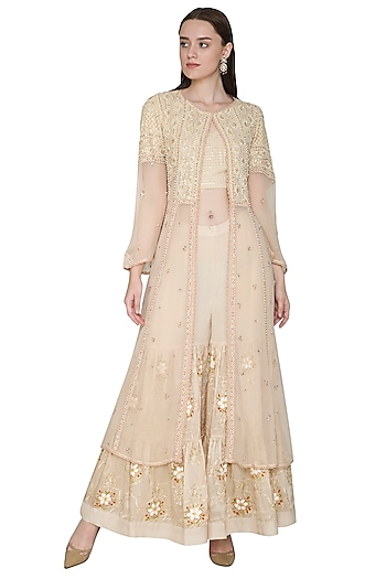 Beige Embroidered & Hand Painted Jacket Sharara Set by Poonam Dubey Designs