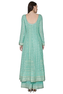 Mint Green Embroidered & Hand Painted Anarkali Set by Poonam Dubey Designs