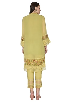 Lime Green Embroidered & Hand Painted Kurta Set by Poonam Dubey Designs